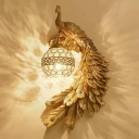 Resin White/Green/Gold Wall Sconce Peacock Single Rustic Wall Mount Lamp with Dome Crystal Shade