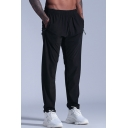 Training Mens Pants Solid Color Zipper Pocket Elastic Invisible Drawstring Waist Relaxed Fit Workout Pants