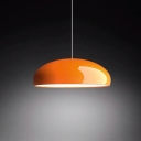 Gloss White/Red/Orange Bowl Drop Pendant Macaron 1-Light Metal Small/Large Ceiling Suspension Lamp over Dining Table