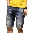 Mens Unique Letter Original Print Zip-fly Pocket Ripped Turn-up Hem Longline Straight Fit Denim Shorts with Washing Effect