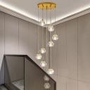 Clear Cut Crystal Ball Suspension Light Modernism 10/15/20-Light Multi Pendant Ceiling Light in Brass