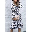 Leopard Pattern Bell Sleeve Surplice Neck Bow-tie Waist Ruffled Hem Mid A-line Fashionable Dress for Ladies