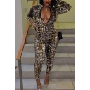 Designer Snake Print Long Sleeve Stand Collar Zip Front Long Fitted Jumpsuit for Women