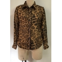 Hot Stylish Womens Leopard Print Patchwork Button Down Mesh Sleeve Chiffon Shirts