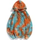 Trendy Men's Hoodie Tie Dye Pattern Kangaroo Pocket Long Sleeves Relaxed Fit Drawstring Hooded Sweatshirt