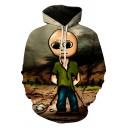 Popular Mens Hoodie Cartoon Figure Long Sleeve Drawstring Kangaroo Pocket Loose Hoodie
