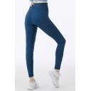 Trendy Women's Leggings Solid Color Flatlock Stitching High Waist Ankle Length Skinny Training Leggings