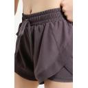 Leisure Womens Shorts Patchwork Gauze Raw Hem Fully Lined Elastic Drawstring Waist Regular Fitted Training Shorts