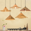 South East Asia Conical Pendant Lamp Bamboo 1 Head Tearoom Suspended Lighting Fixture in Wood