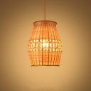 Single Dining Table Pendant Light Asia Wood Ceiling Hang Lamp with Barrel Bamboo Shade