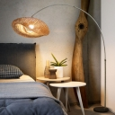 Twist/Round/Bowl Shade Bedside Floor Lamp Bamboo Single Asia Small/Large Standing Light with Arc Arm in Wood