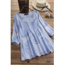 Fashionable Womens Blouse Leaf Print Pleated Round Neck Long Sleeves Cotton and Linen Relaxed Pullover Blouse