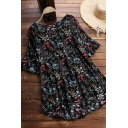 Elegant Women's Shirt Blouse Floral Pattern Round Neck Short Flare Cuff Sleeves High-Low Pleated Shirt Blouse