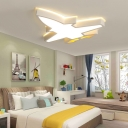 Small/Large Acrylic Aircraft Flush Light Kid Style White Surface Mounted LED Ceiling Lamp in Warm/White/3 Color Light