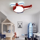 Black/Red Helicopter Ceiling Light Fixture Cartoon LED Acrylic Flush Mounted Lamp in Warm/White/3 Color Light