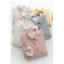 Girls Leisure Solid Color Shirt Sherpa Liner Long Sleeve Point Collar Button-up Relaxed Shirt Top