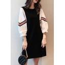 Fancy Women's Shirt Dress Patchwork Contrast Panel Stripe Printed Round Neck Long Puff Sleeves Swing Dress