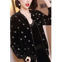 Trendy Women's Casual Jacket All over Swan Print Zip Placket Banded Cuffs Long Sleeves Regular Fitted Casual Jacket