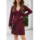 Womens Elegant Solid Color Dress Long Sleeve Surplice Neck Bow Tied Waist Short A-line Dress