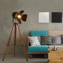 2-Bulb Tripod Searchlight Floor Lamp Vintage Restoration Rust/Camouflage Metal Floor Standing Light