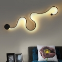 Snaky Flush Wall Sconce Novelty Simple Acrylic Living Room LED Wall Lamp in Black, Warm/White/3 Color Light
