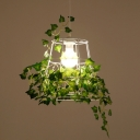 Iron White Pendant Lamp Tapered 1-Light Loft Style Ceiling Hang Light with Green Ivy Decor