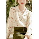 Trendy Women's Shirt Blouse All over Print Button Closure Notched Lapel Collar Long Sleeves Regular Fitted Shirt Blouse