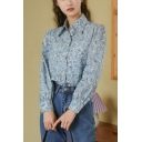 Trendy Women's Shirt Blouse Ditsy Floral Pattern Button Fly Point Collar Long Bishop Sleeves Regular Fitted Shirt Blouse
