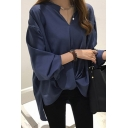 Fancy Women's Shirt Solid Color Pleated V Neck Long Bishop Sleeves High-Low Pleated Relaxed Fit Shirt Blouse
