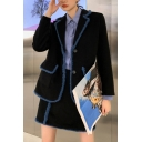Leisure Women's Suit Jacket Contrast Trim Button up Flap Pocket Notched Lapel Collar Long Sleeves Regular Fitted Suit Jacket