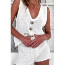 Casual Womens Set Solid Color Knit V-neck Button Up Loose Tank & Shorts Co-ords