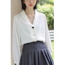 Elegant Girls Shirt White Long Sleeve Shawl Neck Button-up Relaxed Shirt Top