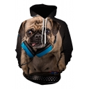 Mens Cute Hoodie Dog 3D Printed Long Sleeve Drawstring Pouch Pocket Relaxed Hoodie