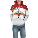 Mens Fancy Hoodie Santa Claus 3D Print Long Sleeve Drawstring Kangaroo Pocket Loose Hoodie