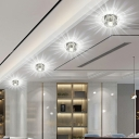 3/5w Round Mini Flush Mount Lamp Simple Clear Crystal Living Room LED Ceiling Light in Warm/White/Multicolored Light
