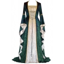 Womens Medieval Velvet Dress Colorblock Bell Long Sleeve Square Neck Maxi Pleated A-line Dress