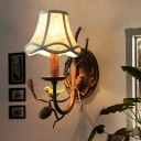 Flared Fabric Wall Lamp Fixture Farm Style 1/2-Bulb Corridor Sconce Light with Bird and Pine-Cone Decor in Brown
