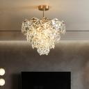 Snowflake Shaped Crystal Chandelier Post-Modern 3/7-Head Gold Finish Hanging Light Kit, 12
