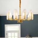Seedy Glass Leaf Shaped Chandelier Postmodern 6/8/10 Lights Gold Finish Ceiling Pendant Lamp