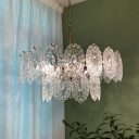 Tiered Tapered Hanging Chandelier Modern Clear Carved Crystal 13/14/30 Bulbs Dining Room Pendant Lamp in Gold