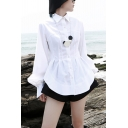 Trendy Women's Shirt Blouse Solid Color Pleated Front Button Closure Point Collar Long Bishop Sleeves Side Split Regular Fitted Shirt