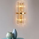 Flute/Pipe/Tiers Flush Mount Wall Sconce Mid-Century Clear Crystal 2-Light Bedside Wall Light in Gold