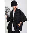 Retro Women's Jacket Solid Color Drawstring Front Pocket Design Half Sleeves Shawl Collar Relaxed Fit Jacket