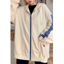 Trendy Women's Hoodie Contrast Panel Front Pocket Zipper Placket Banded Cuffs Long-sleeved Relaxed Fit Drawstring Hooded Sweatshirt