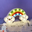 Rainbow Baby Room Mini Night Lighting Plastic Cartoon Battery LED Wall Lamp in White