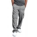 Retro Men's Cargo Pants Plain Flap Pockets Drawstring Waist Long Relaxed Fit Pants
