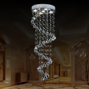 1/3/5-Head Spiraling Flush Mount Lamp Modern Stainless Steel Crystal Draping Close to Ceiling Light