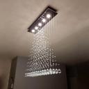 5-Light Crystal Draping Ceiling Lamp Modern Stainless Steel Triangle Bedroom Flushmount Light