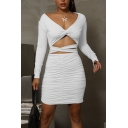 Trendy Women's Bodycon Dress Solid Color Twist Criss Cross Pleated Hollow out Detail V Neck Long-sleeved Slim Fitted Short Bodycon Dress