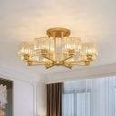 Crystal Prism Black/Gold Semi Flush Mount Cube 4/6/10 Bulbs Modern Ceiling Mount Chandelier